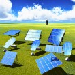 Solar panels on green grass - Stock Photo