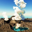 Volcanic eruption on island - Stock Photo