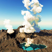 Volcanic eruption on island — Stockfoto