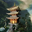 ストック写真: Zen buddhist temple in mountains
