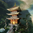 Stock Photo: Zen buddhist temple in mountains