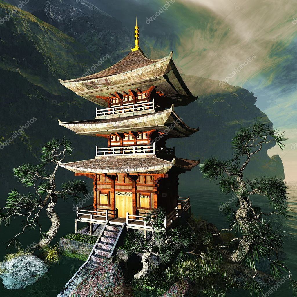 Tempio Buddista Zen In Montagna Foto Stock