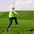 Engeeneer jumping for joy — Stock Photo