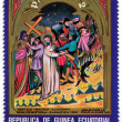 Chrstian religious motives on postage stamp — Photo