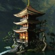 Stock Photo: Buddhist temple in mountains