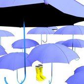 Umbrella & wellingtons — Stock Photo