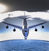 Grote reizigerskilometers vliegtuig aanraken omlaag — Stockfoto