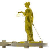 Themis statue and handcuffs — Stock Photo