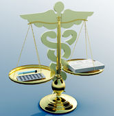 Asclepius & Justice scale — Stock Photo
