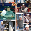 Engineer on photo collage — Stock Photo