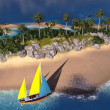 Yacht in paradise island — Stock Photo