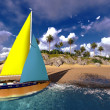 Yacht in paradise island — Stock Photo #32906275