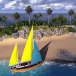 Yacht in paradise island — Stock Photo #32906945