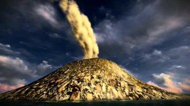 Wybuch wulkanu na wyspie — Wideo stockowe