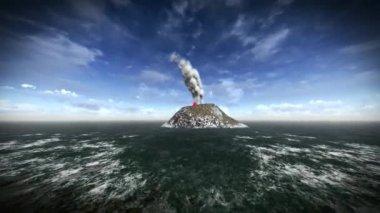 извержение вулкана на острове — Стоковое видео