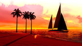 Hawaiian sunset — Stockfoto
