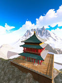 Zen buddhist temple in the mountains — Stock Photo
