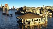 Tsunami devastated city — Stock Photo