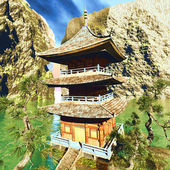 Zen buddhist temple in the mountains — Photo