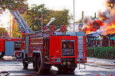Fire in city — Stock Photo