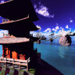 Buddhist temple over lake — Stock Photo #37734973
