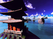 Buddhist temple over the lake — Stock Photo