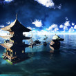 Buddhist temple over lake — Stock Photo #37760273
