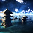 Stock Photo: Buddhist temple over lake