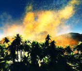 Volcanic eruption on island — Stock Photo