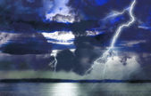 Storm on lake — Stock Photo