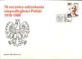 Vintage Polish envelope with postage stamp — Stock Photo