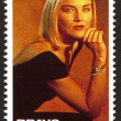 Sharon Stone on a vintage postage stamp by Bravo from early 1980s — Stock Photo