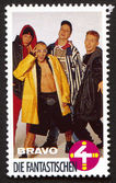 Die Fantastischen Vier on a vintage postage stamp by Bravo from early 1980s — Stock Photo