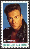 Jean-Claude Van Damme on a vintage postage stamp by Bravo from early 1980s — Stock Photo