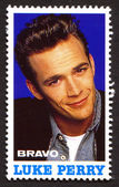 Luke Perry on a vintage postage stamp by Bravo from early 1980s — Stock Photo
