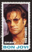 Tico Torres on a vintage postage stamp by Bravo from early 1980s — Stock Photo