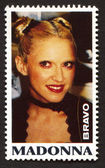 Madonna  on a vintage postage stamp by Bravo from early 1980s — Stock Photo