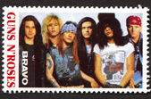 Guns N Roses on a vintage postage stamp by Bravo from early 1980s — Stock Photo