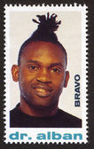 Dr. Alban on a vintage postage stamp by Bravo from early 1980s — Stock Photo