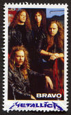 Metallica on a vintage postage stamp by Bravo from early 1980s — Stock Photo