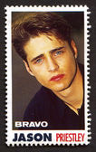 Jason Priestley on a vintage postage stamp by Bravo from early 1980s — Stock Photo