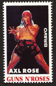 Axl Rose on a vintage postage stamp by Bravo from early 1980s — Stock Photo
