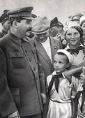 Vintage photograph of Joseph stalin with children — Stock Photo