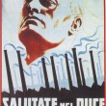 Постер, плакат: GERMANY circa 1943 Benito Mussolini and Adolf Hitler shown on a propaganda German Nazi newspaper circa 1943