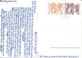 Vintage postcard with handwritten message — Stock Photo