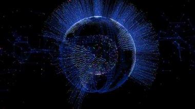 Fiber Optics arround Earth Globe — Stock Video