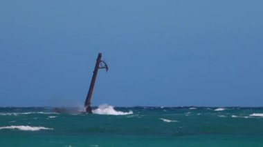 Atlantic ocean hits a light pole