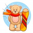 Teddy bear with snowboard — Stock Vector