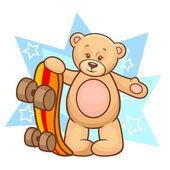 Teddy bear with skateboard — Stock Vector
