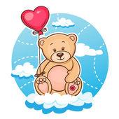 Valentine teddy with balloon — Stock Vector